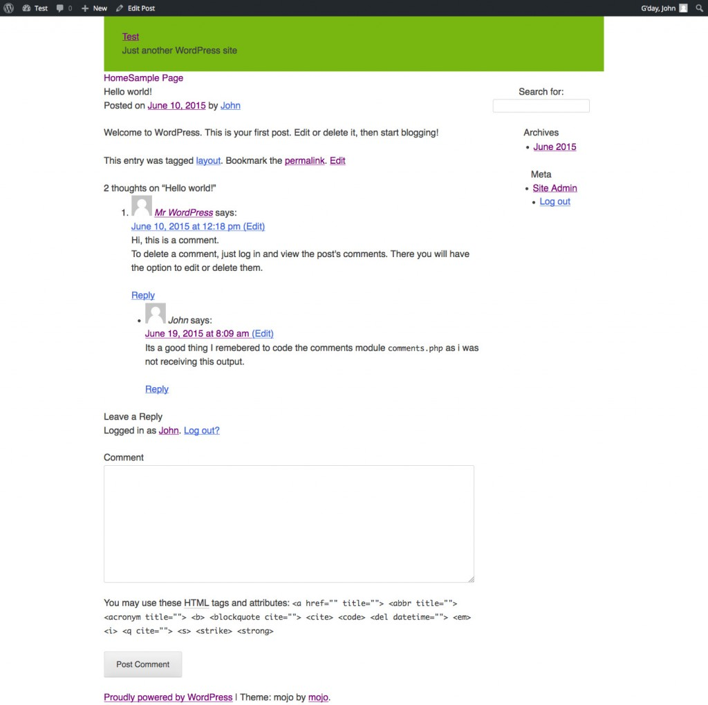 unstyled view of the posts page with comments
