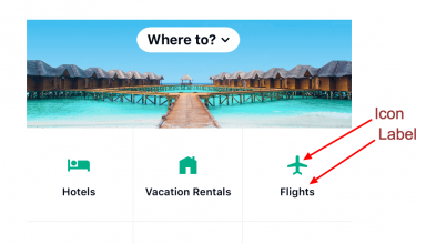 image The Tripadvisor app uses icons with text labels on their startpage and on their tab navigation menu.